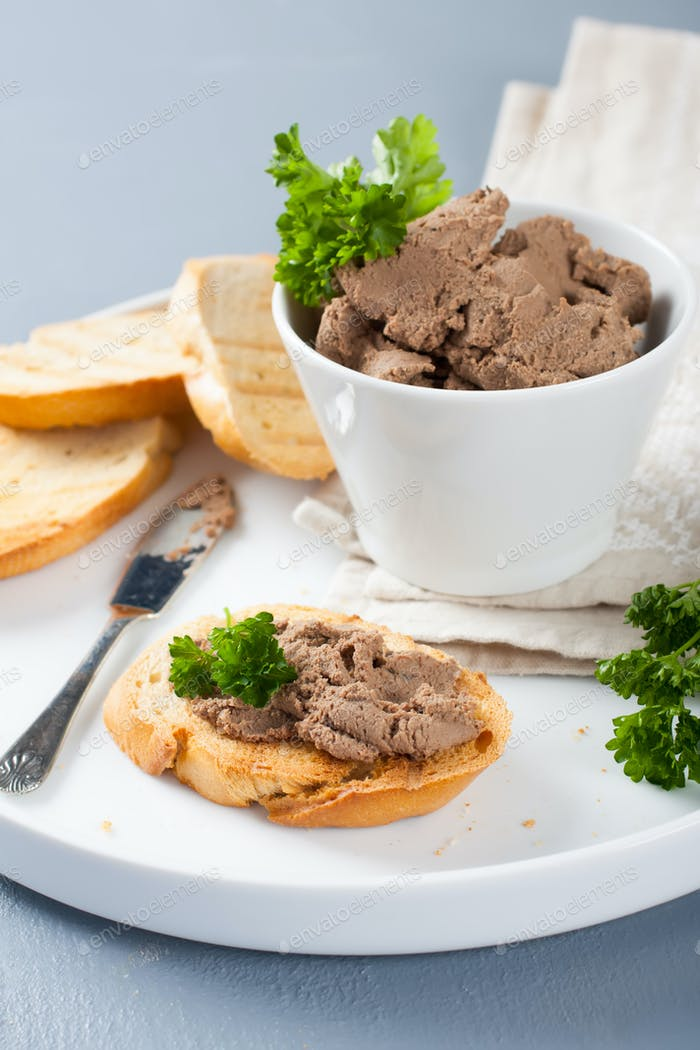 Homemade meat snack chicken liver pate