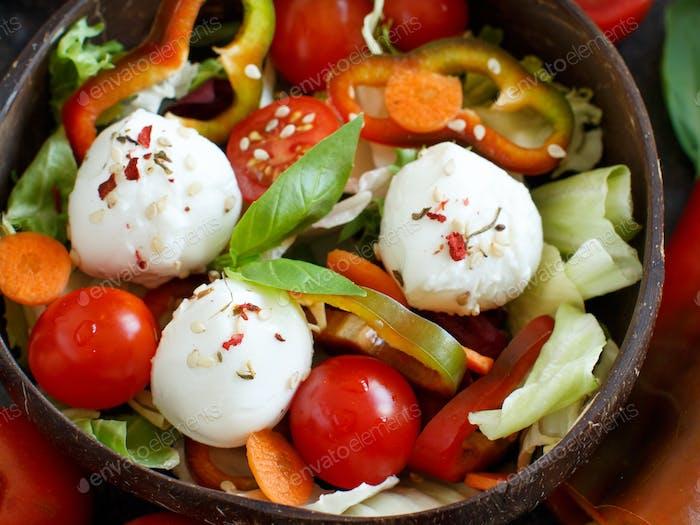 Mixed salad with mozzarella