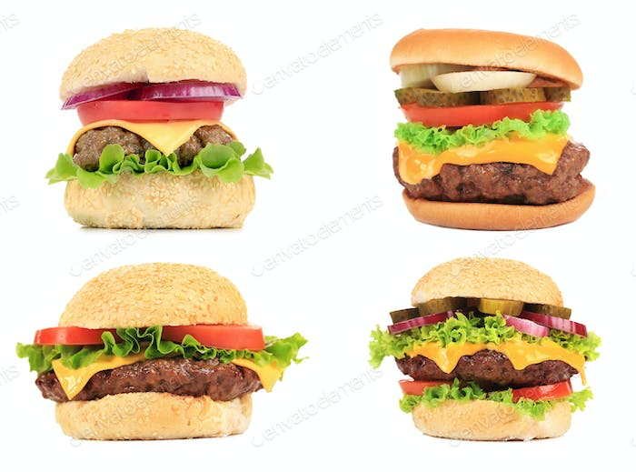 Set of various hamburgers.