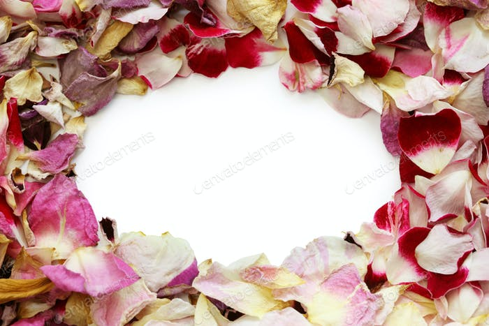 frame of homemade dried rose petals