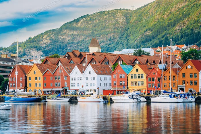 View of historical buildings, Bryggen in Bergen, Norway. UNESCO