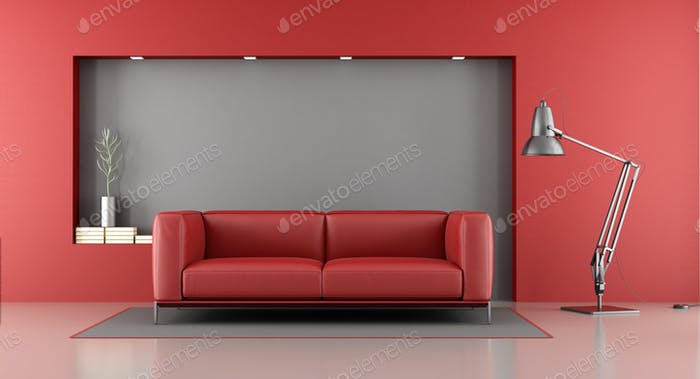Red and gray minimalist lounge