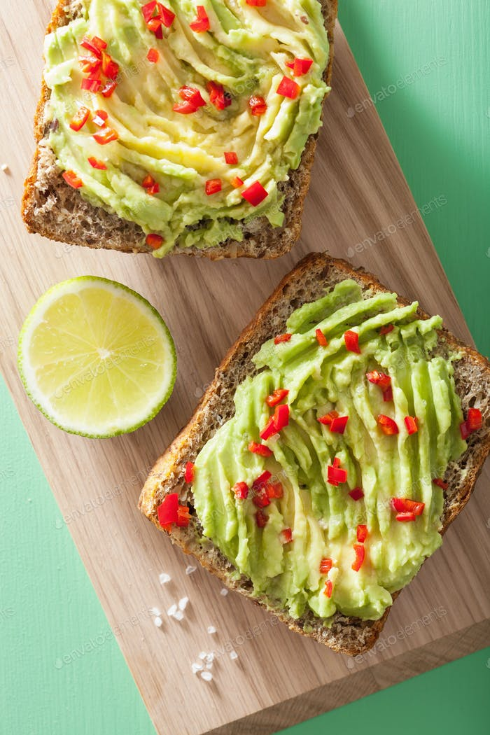 healthy wholegrain bread with avocado lime chili