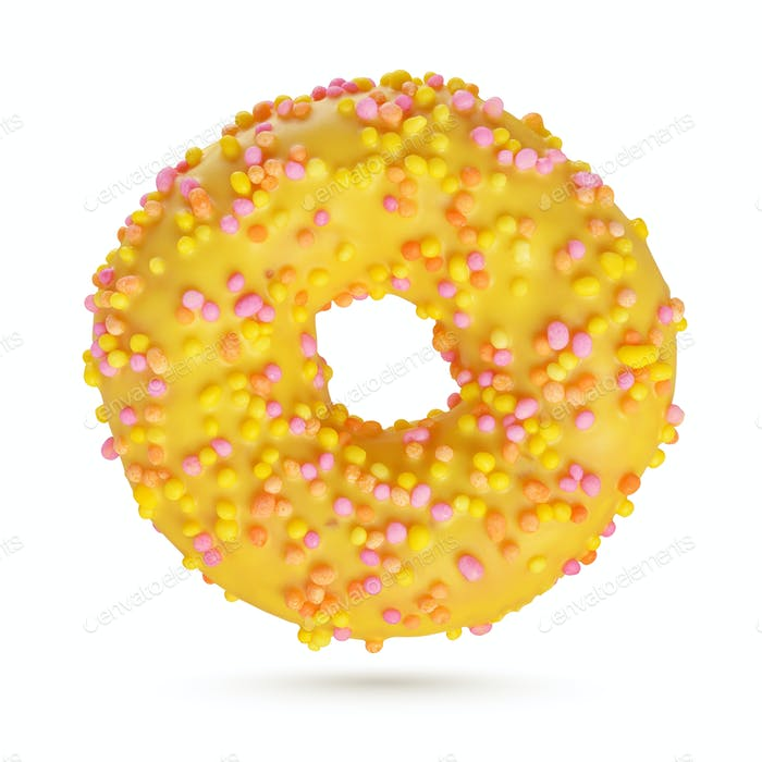 Yellow glazed donut isolated on white background.