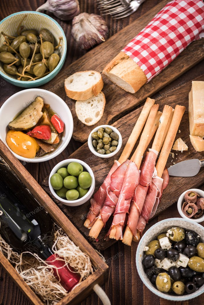 Traditional spanish tapas for sharing with friends