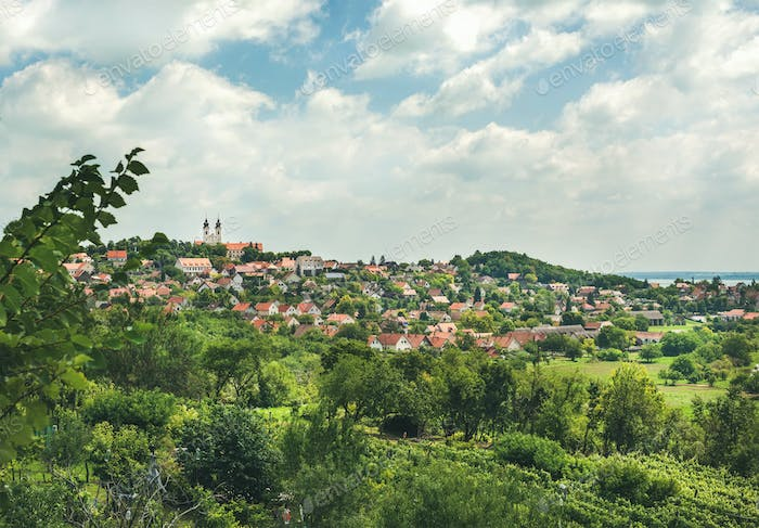 View over Tihany abbey and town on lake Balaton, Hungary