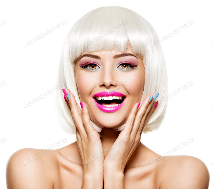 Fun happy face of a pretty woman  with white hairs and multicolo