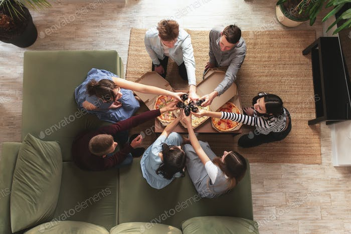 Pizza party, group of friends chatting, eating pizza, drinking sweet soda water