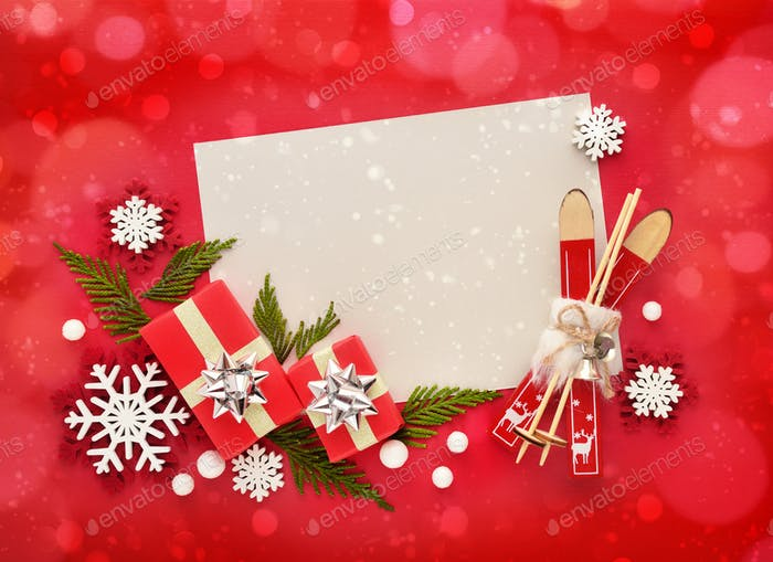 Christmas or New Year greeting card. Flat lay, top view, copy space
