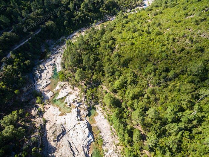 Aerial  view of Cavu natural pool near Tagliu Rossu and Sainte L