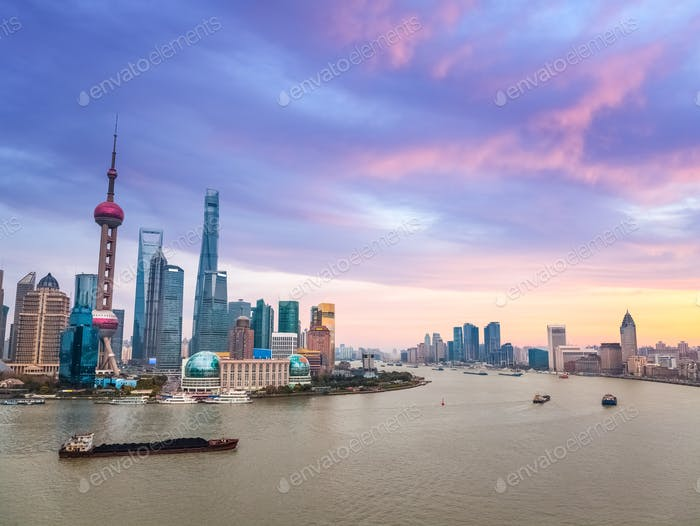shanghai in sunset