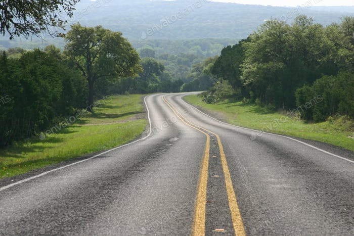 Low Angle View of a Road in the Texas Hill Country