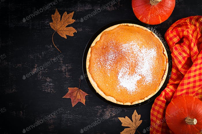 American Pumpkin Pie. Thanksgiving Day. American cuisine. Top view.
