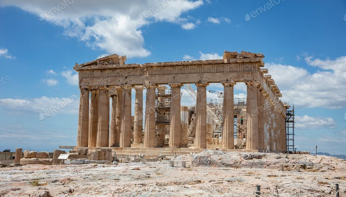 Athens, Greece. Parthenon temple on Acropolis hill, bright spring day.
