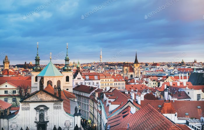 The view over the red roofs of Stare Mesto district in Prague, C
