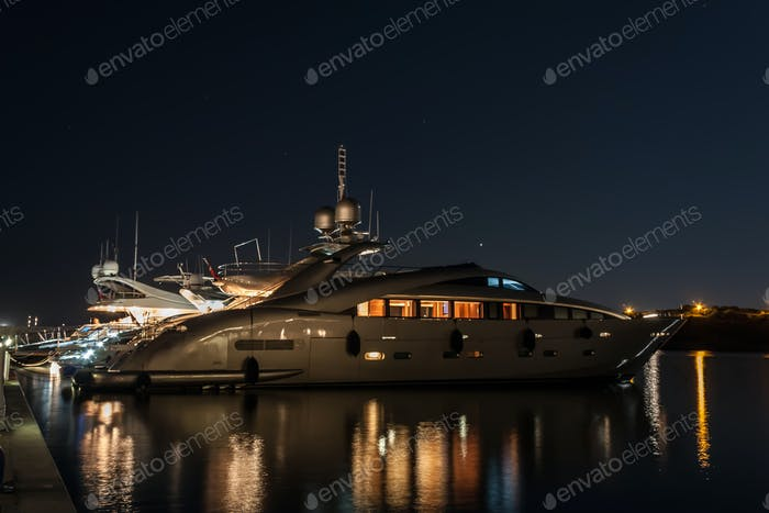 Luxurious Yacht Illuminated
