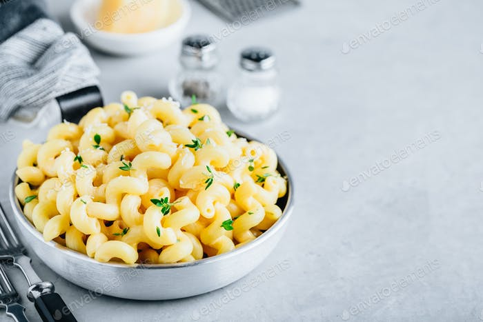 American mac and cheese, macaroni and cheese pasta in pan