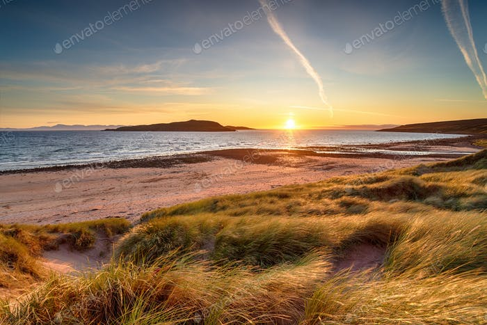 Sunset over the dunes at Big Sand Beah at Gairloch