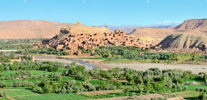 Panorama of fortified city in Morocco