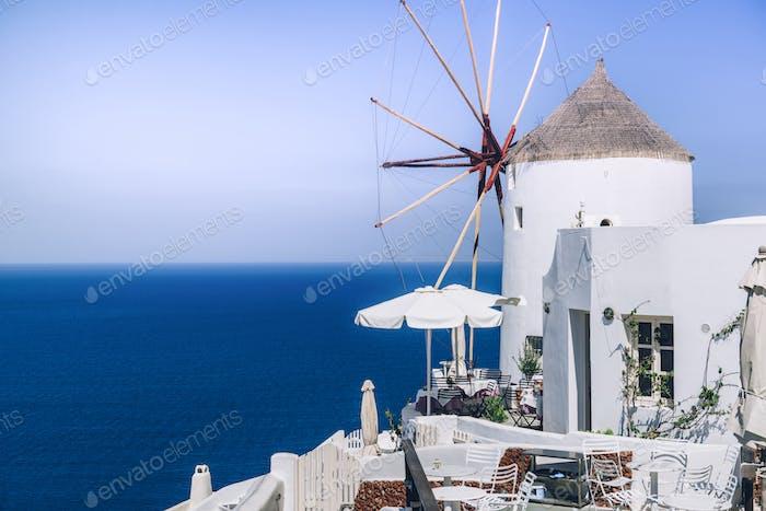 Windmühle auf Santorin Island, Griechenland