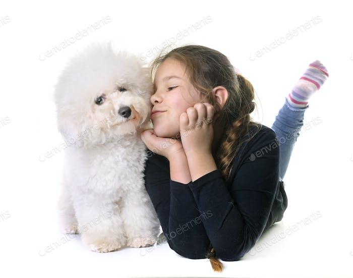 young girl and dog
