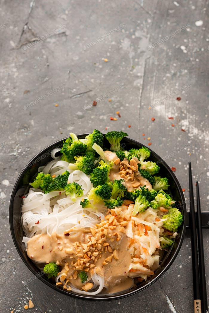 Ramen Rice Noodles with Vegetables and Nuts. Clean Eating Recipe