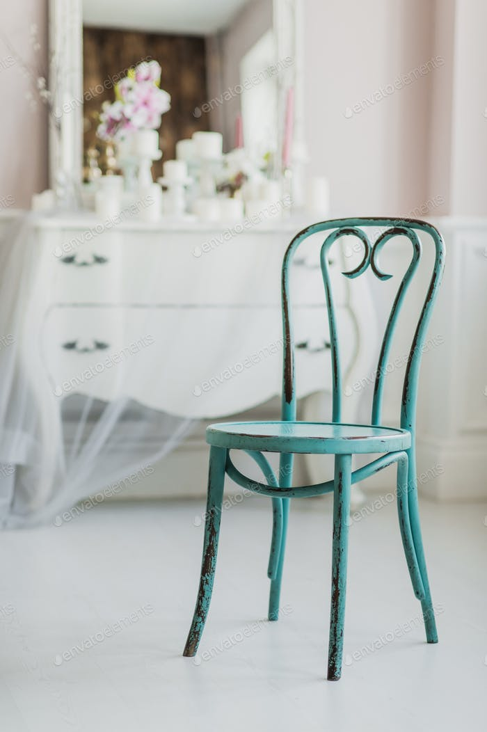 Vintage dirty wooden green elegant chair