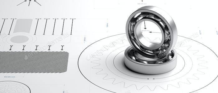 Kugellager, Metall-Ersatzteil auf einer Blaupause. 3D Illustration
