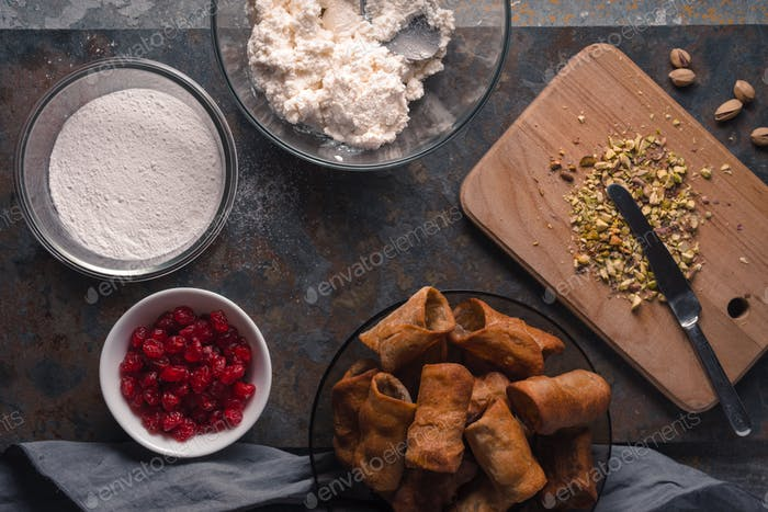 Tubules and ingredients for cannoli Italian dessert
