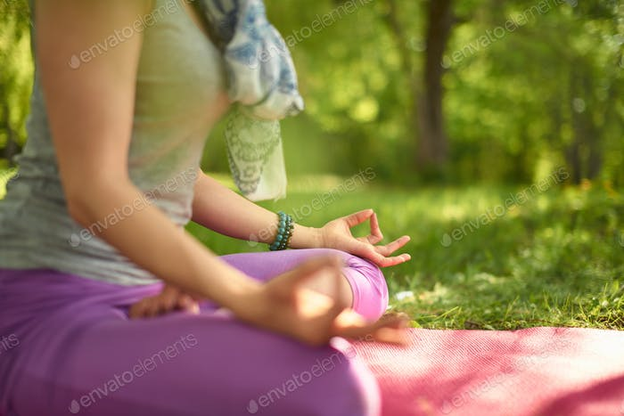 Serene and peaceful woman practicing mindful awareness mindfulne