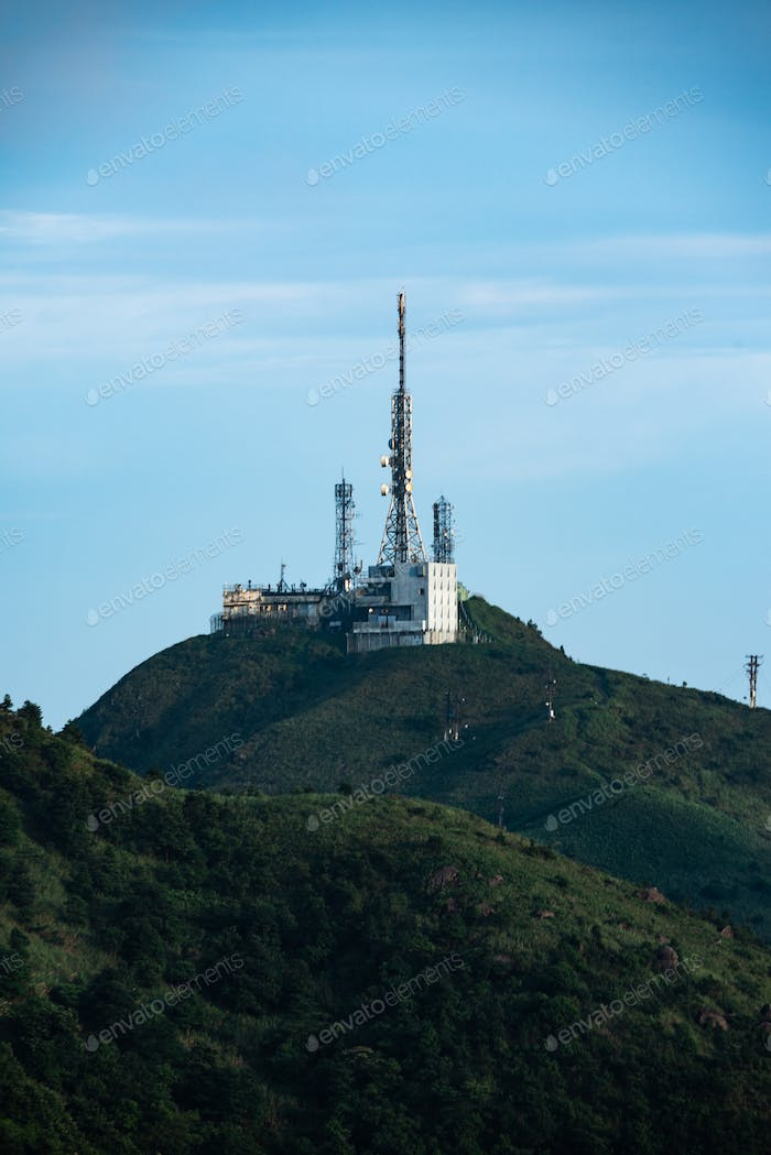 Internet and satellite towers on the mountains
