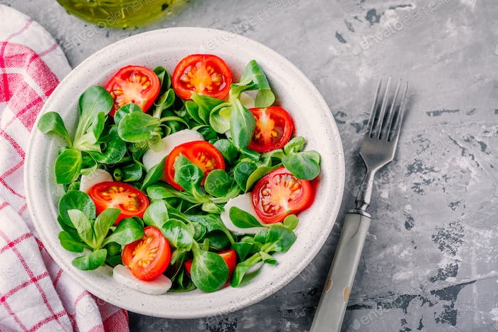 healthy green salad bowl with tomato and mozzarella on rustic background