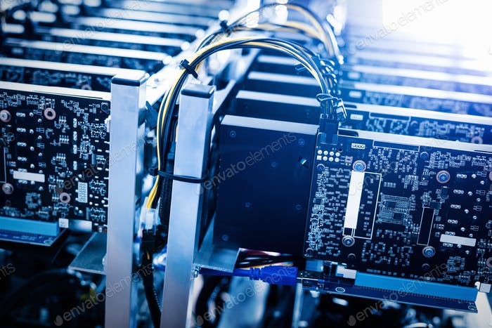 Thumbnail for Bitcoin mining farm. Cryptocurrency business device.