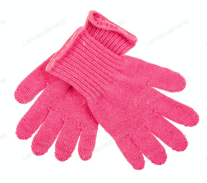 Blue Knit Gloves isolated