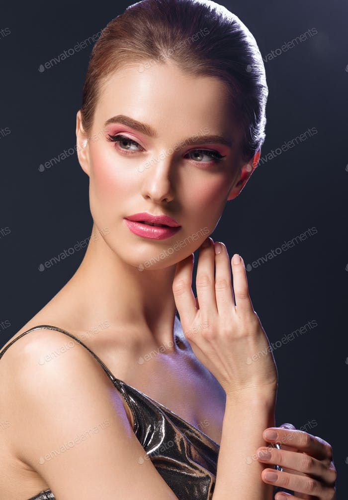 Nigh Lights Woman Glamour fashion Make Up Portrait Silver Dress