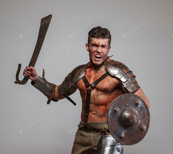 Gladiator in Angriffsposition