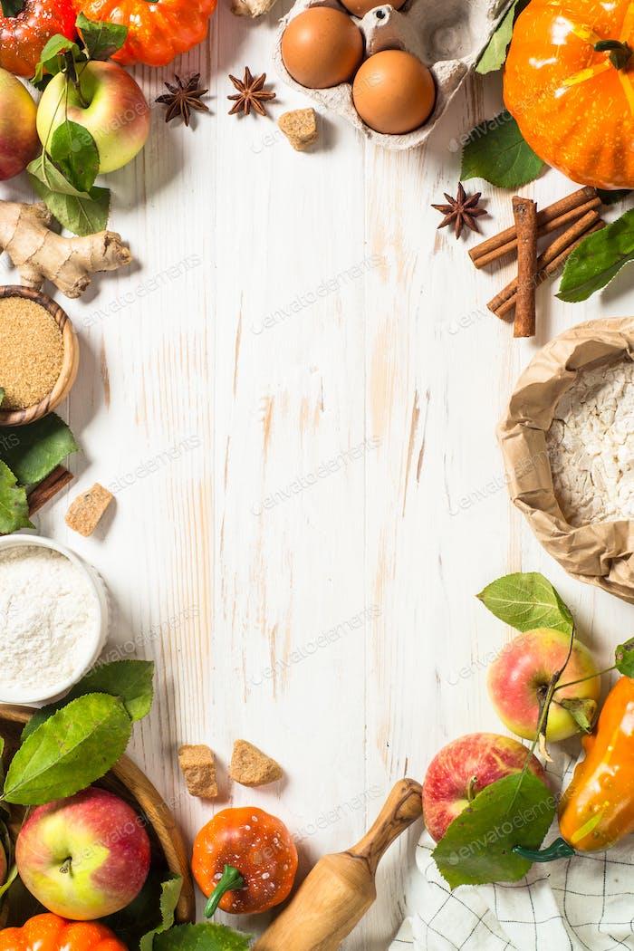 Autumn baking background on white table