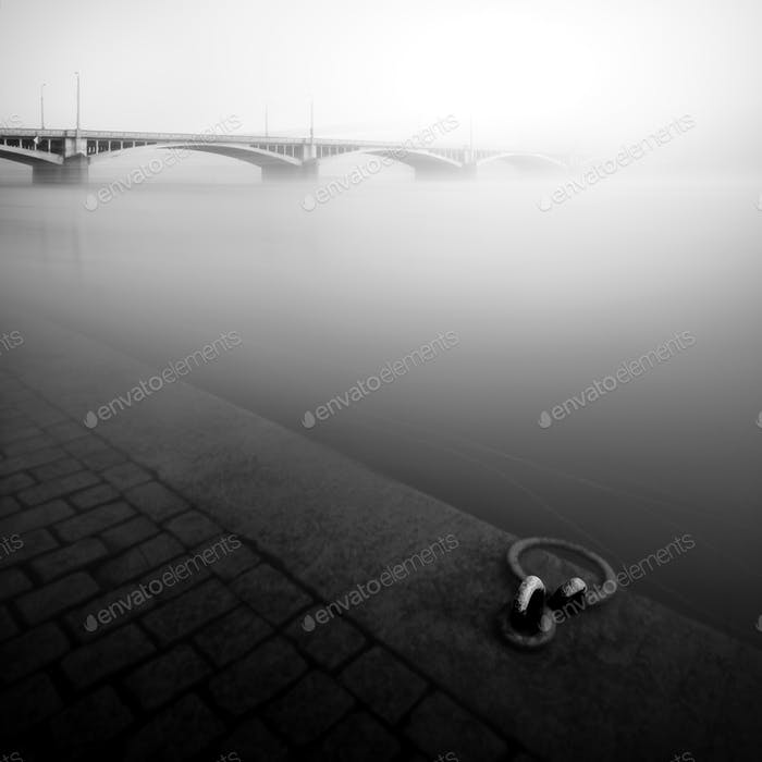 Foggy autumn mood at Vltava river, Prague, Czech republic