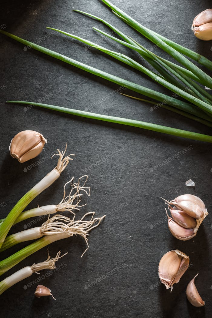 Frame of green onions and garlic