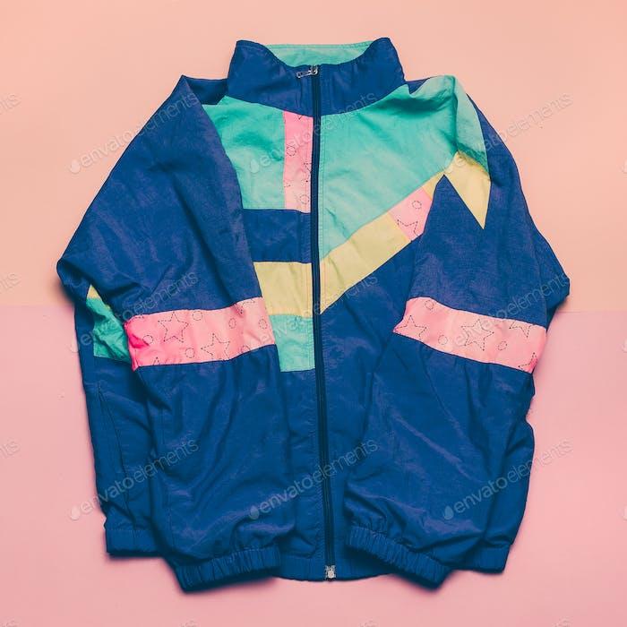 Vintage sports jacket Fashion blogger help Top view