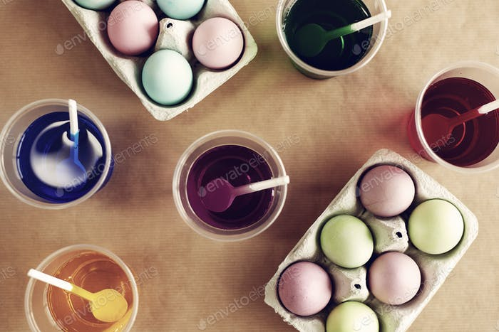 Close up of dyed Easter eggs