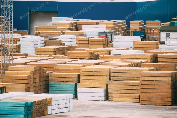 Stacked Timber In Stock. Many Industrial Lumber Material Storage Outdoors