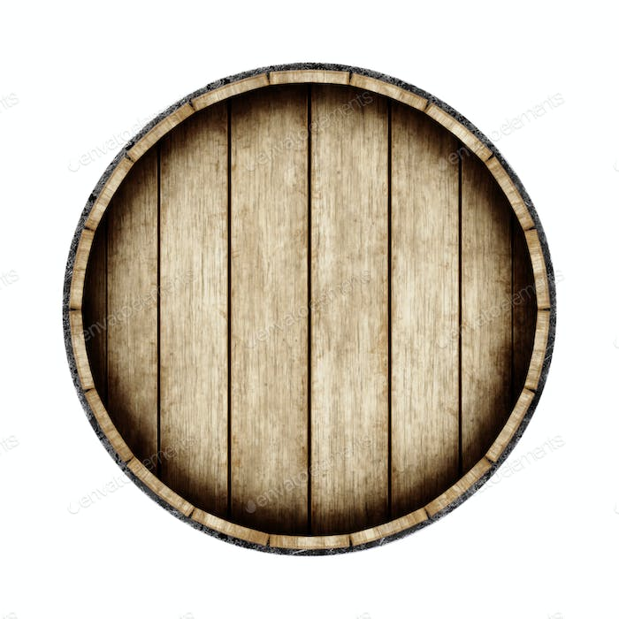 Wooden barrel isolated on white background, top view. 3d renderi