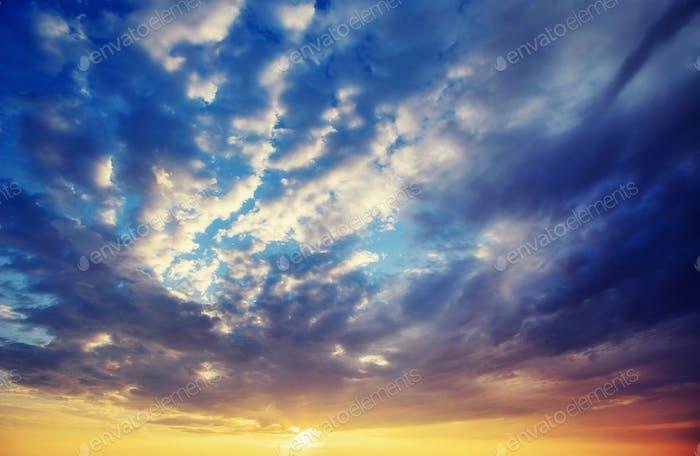Fantastic blue orange sunset. Beauty world Europe