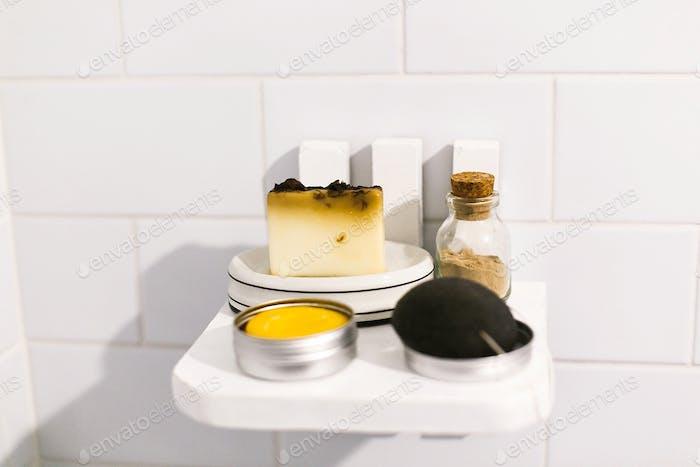 Plastic free bathroom items. Eco natural solid shampoo, konjac sponge