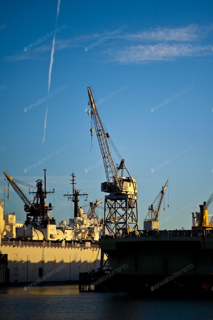 Heavy Equipment Cranes at Dry-dock