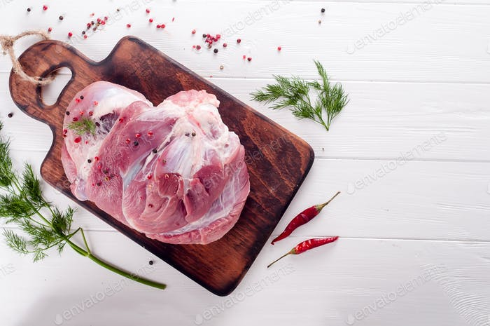 piece of fresh pork on the bone
