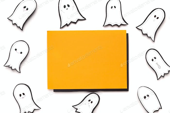 Orange frame with Copy space for text on background with ghosts