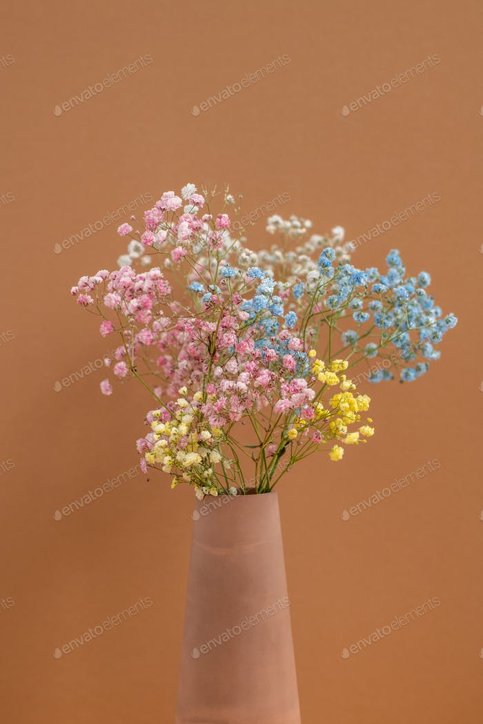 Bouquet of multi-color dried flowers in handmade clay vase in isolation