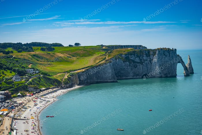 Spectacular natural cliffs Aval of Etretat and beautiful famous coastline, France
